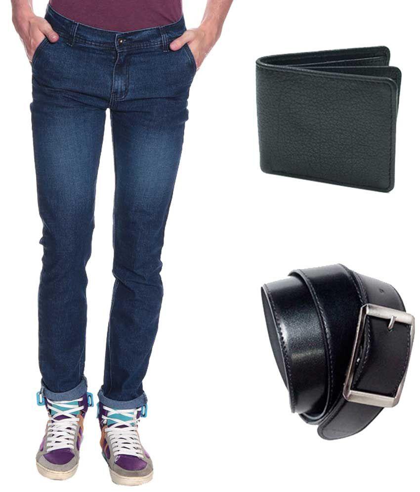 Pelican Blue Regular Fit Men's Jeans with Free Belt & Wallet