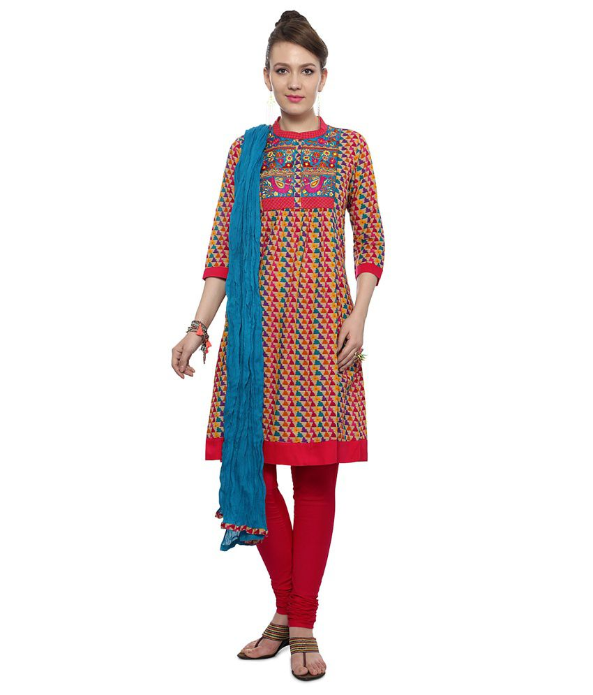 Trishaa by Pantaloons Multi Cotton Stitched Suit