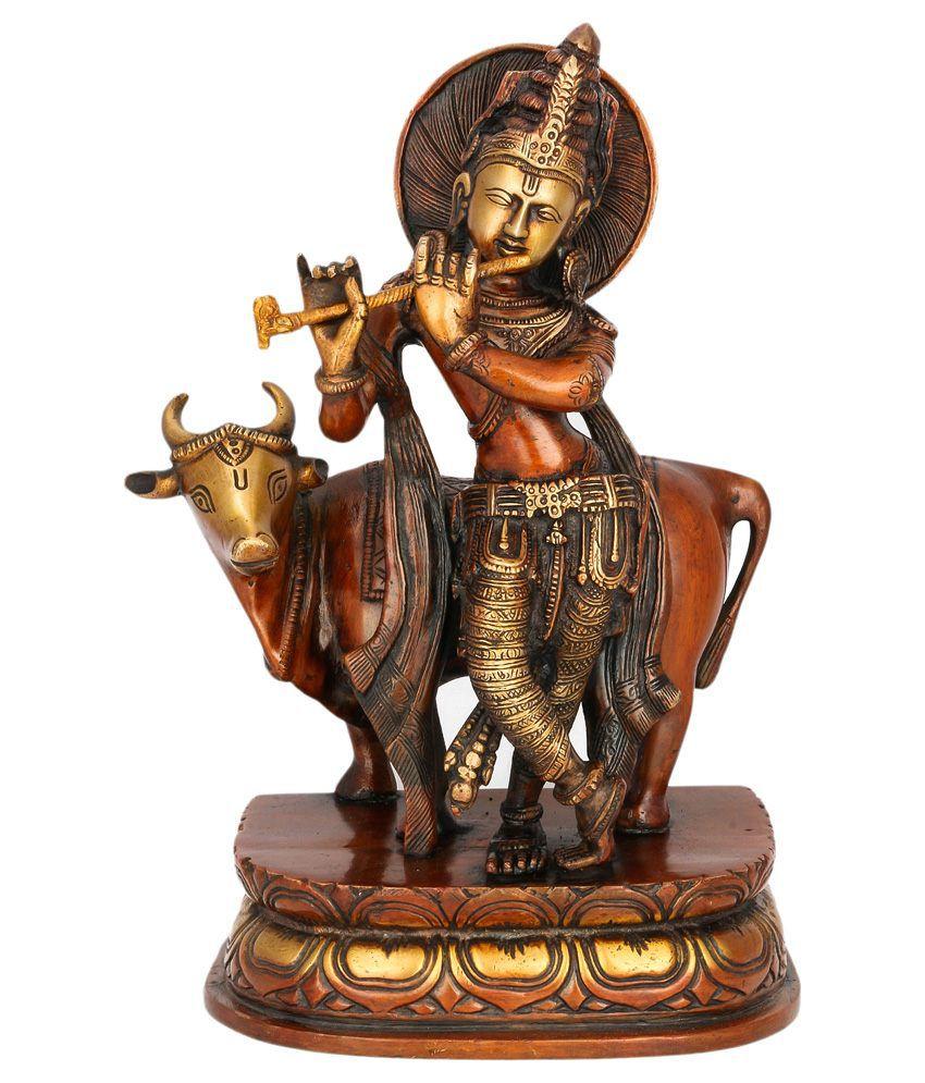 Collectible India Yellow Brass Krishna Idol