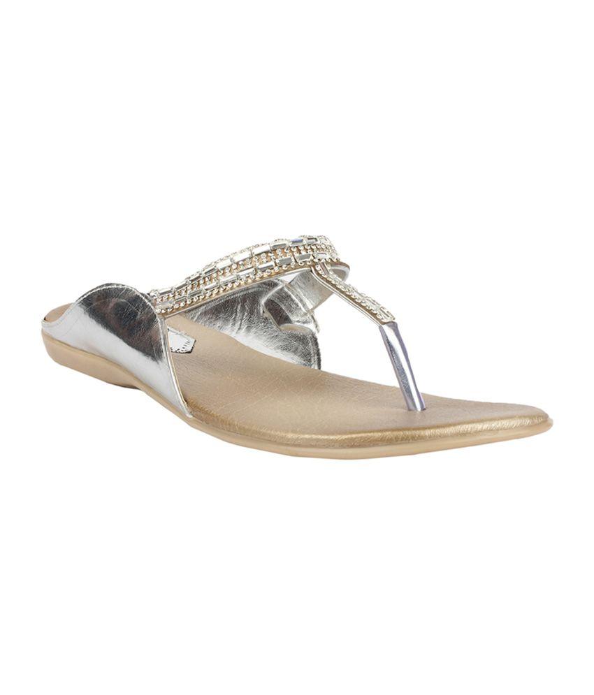 Sindhi Footwear Flat Sandals for Womens - Silver