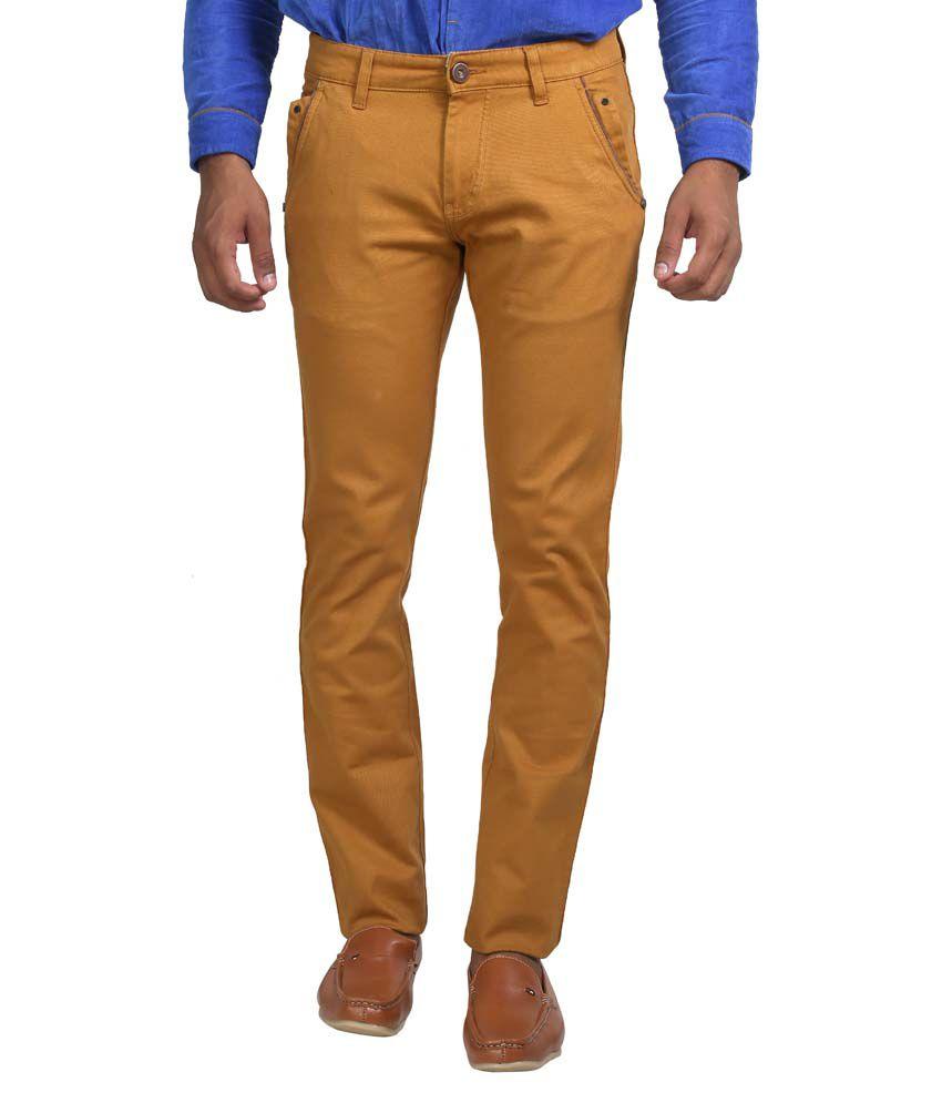 Apris Yellow Cotton Casual Trouser For Men