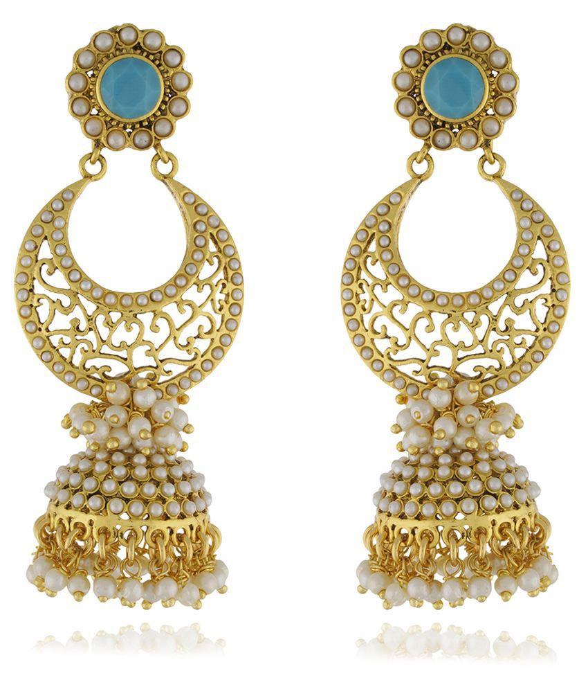Chaahat Fashion Jewellery New Fashion Pearl Copper Jhumki Earring