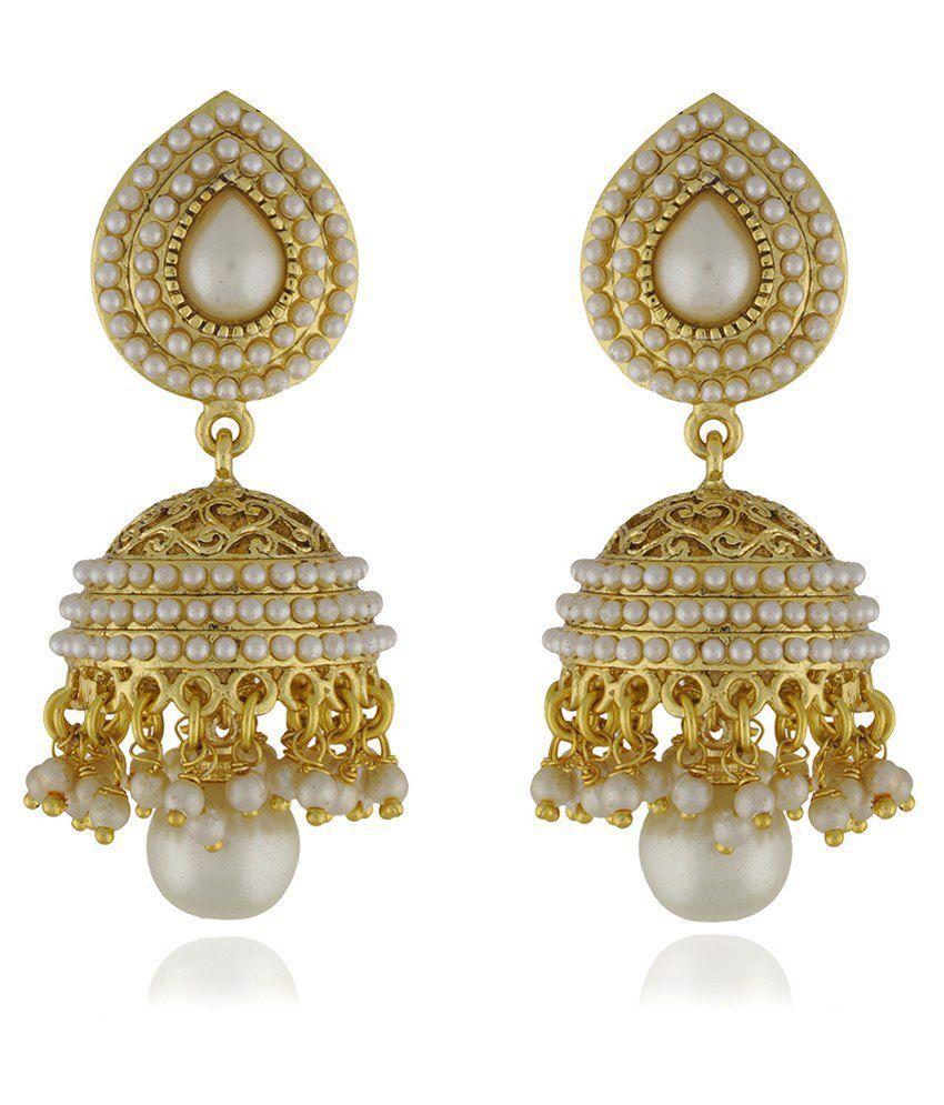Chaahat Fashion Jewellery New Pearl Copper Jhumki Earring