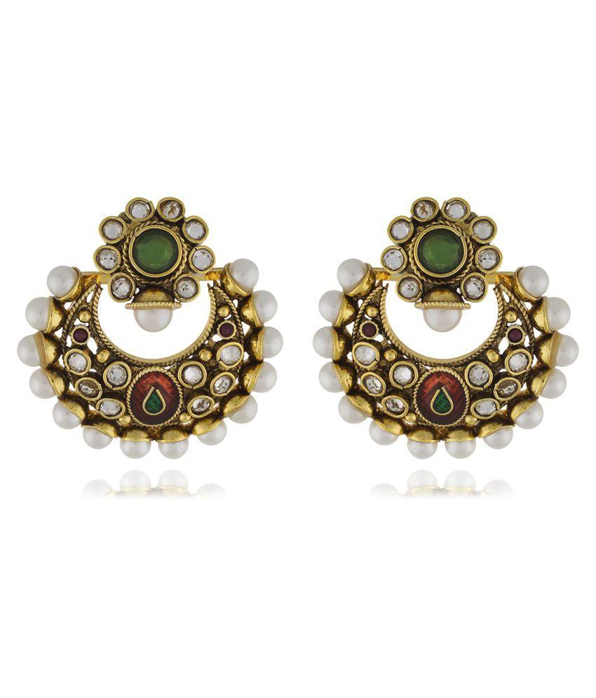 Chaahat Fashion Jewellery Swing Shape Pearl Copper Chandbali Earring