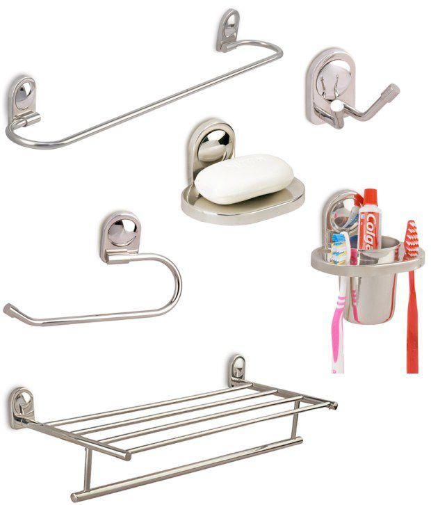 Buy Doyours Combo Of Bathroom Accessories Set With Towel Rack. Bathroom Accessories India   Interior Design