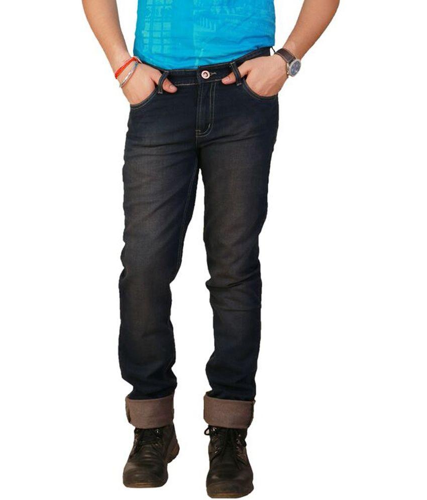 Ds44 Blue Cotton Blend Regular Jeans