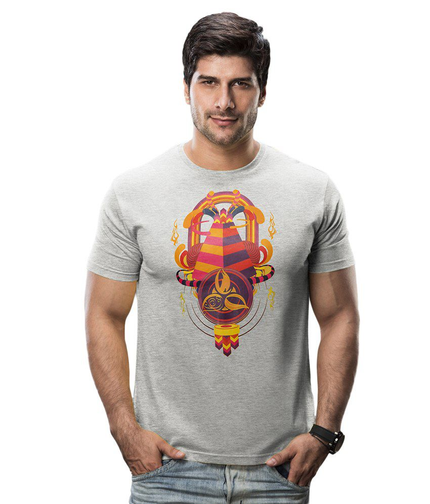 Imagica Gray Cotton Blend Half Round Neck Printed T-Shirt