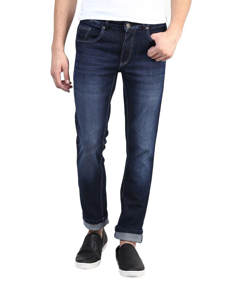 Super-x Blue Cotton Slim Fit Jeans