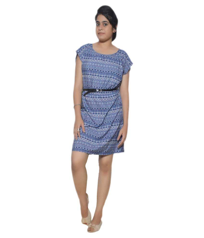 Folks Fashion Navy Cotton Lycra Dresses
