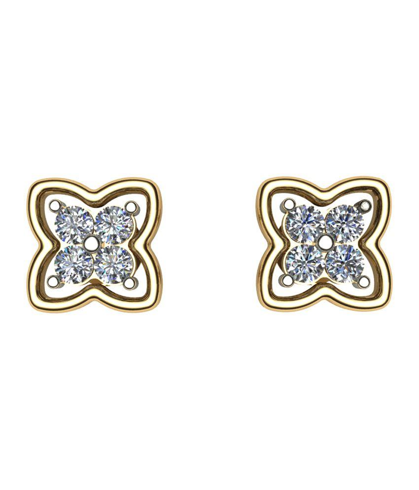 Earth Stone 18kt Gold Contemporary Diamonds Studs