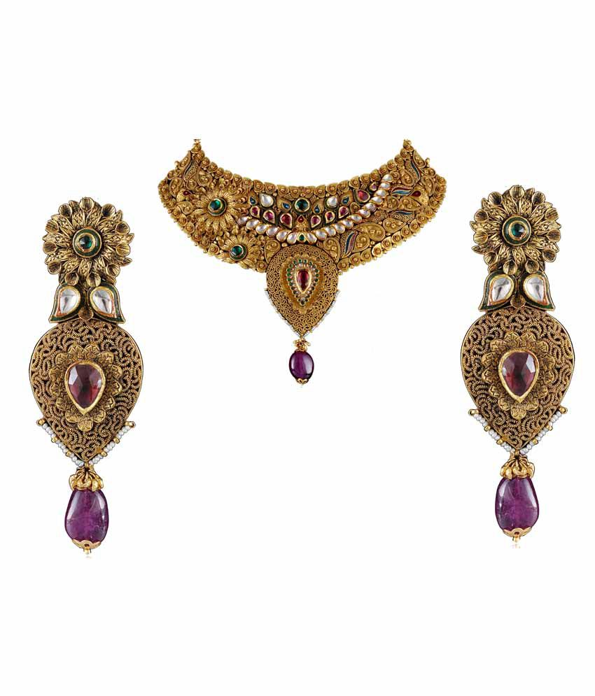 necklace with malabar emeralds ruby choker and artistry jewellery gold latest embedded heavy