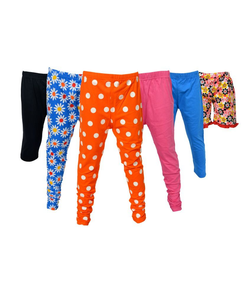 Little Star Combo Of Cotton Capri Leggings And Cycling Shorts - Pack Of 6