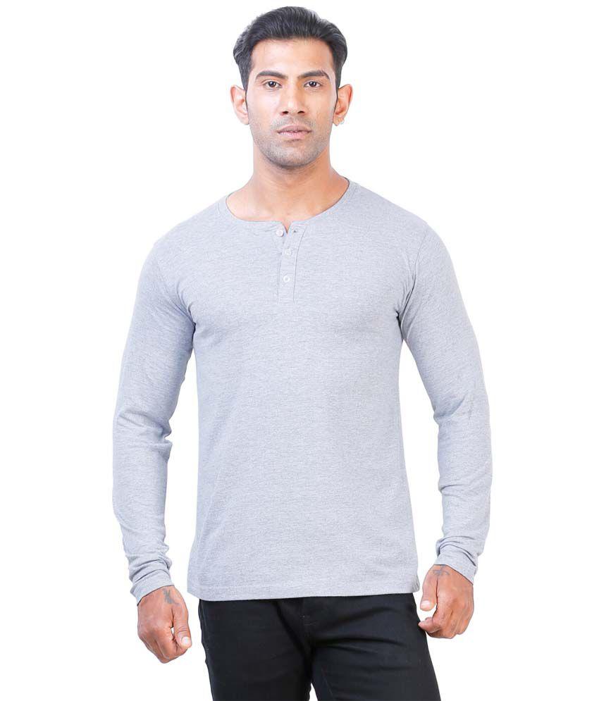 Street Junkies Grey Melange  Full Sleeve Henley T-Shirt