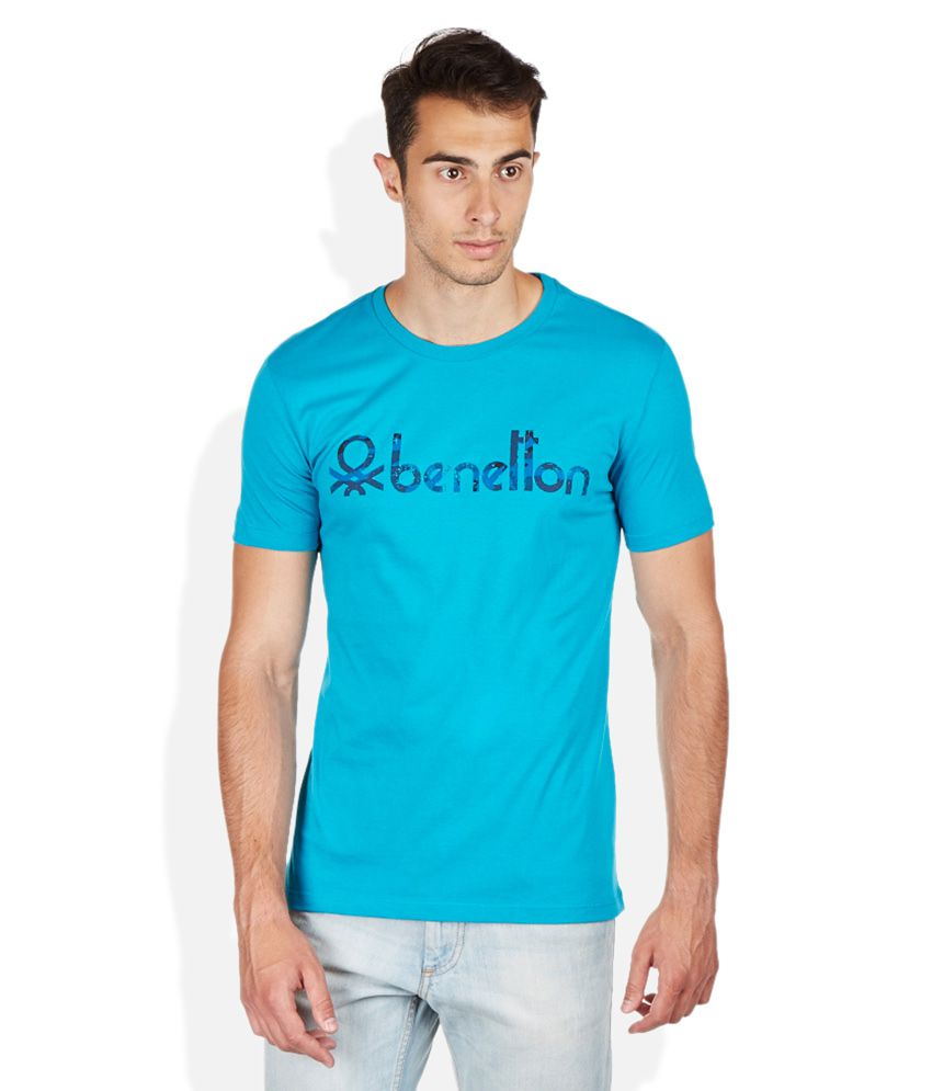 United Colors Of Benetton Blue Round Neck T Shirt