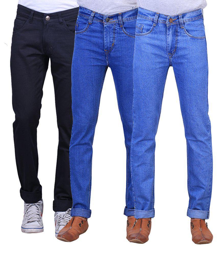 X-cross Black & Blue Denim Regular Fit Jeans for Men (Pack of 3)
