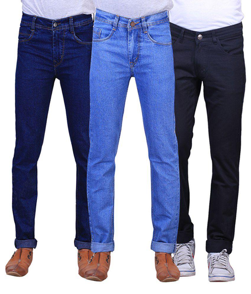 X-cross Black, Navy Blue and Blue Regular Fit Denim Jeans for Men (Pack of 3)