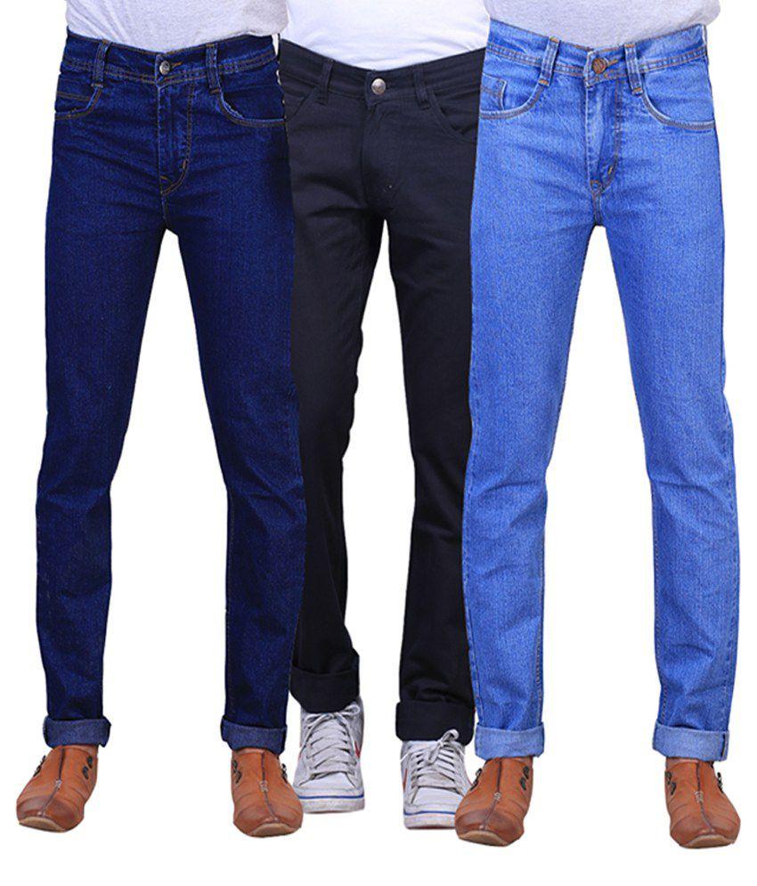 X-cross Blue, Black and Navy Blue Regular Fit Denim Jeans for Men (Pack of 3)