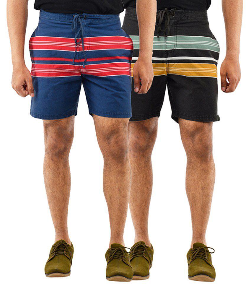 Blue Wave Blue & Black Stripes Shorts (Pack of 2)