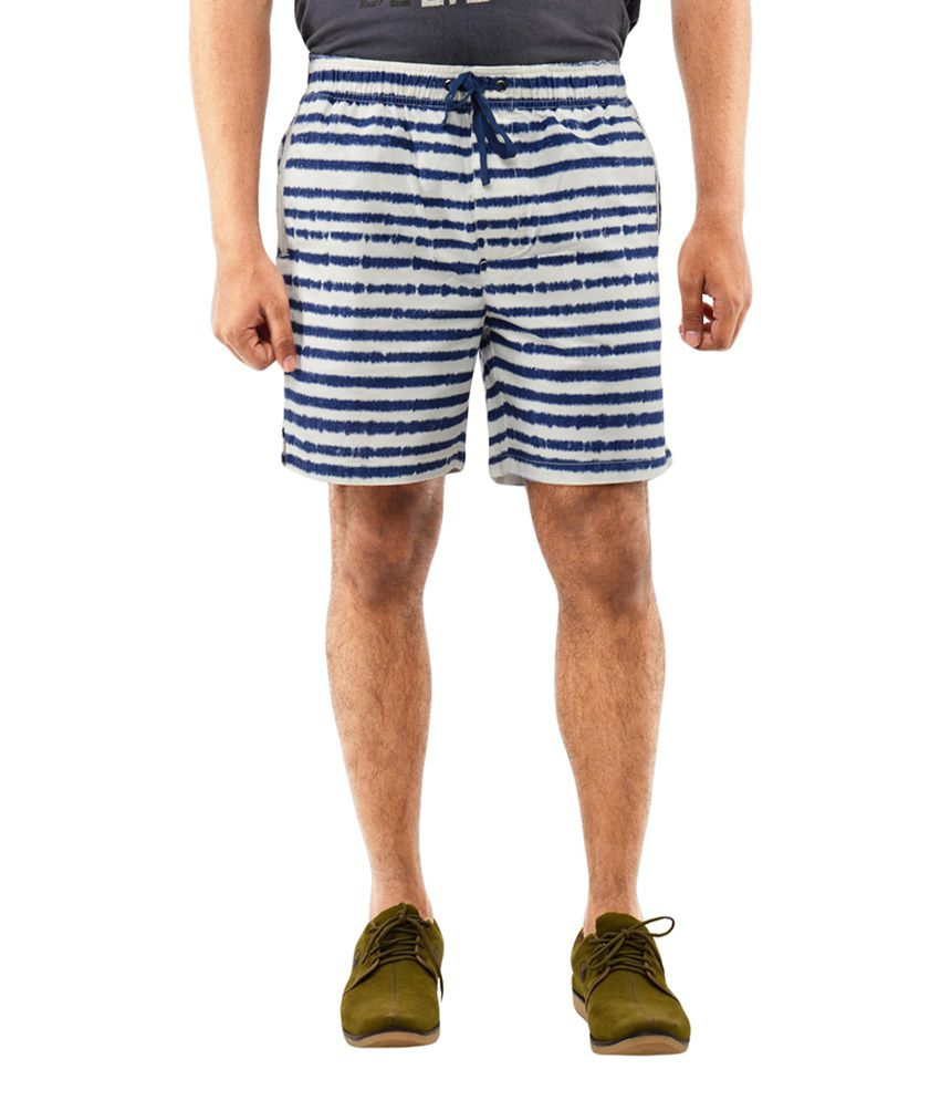 Blue Wave White Stripes Shorts (Pack of 2)