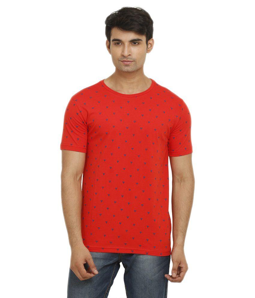 GANZM Men Cotton Round Neck Red T-Shirt