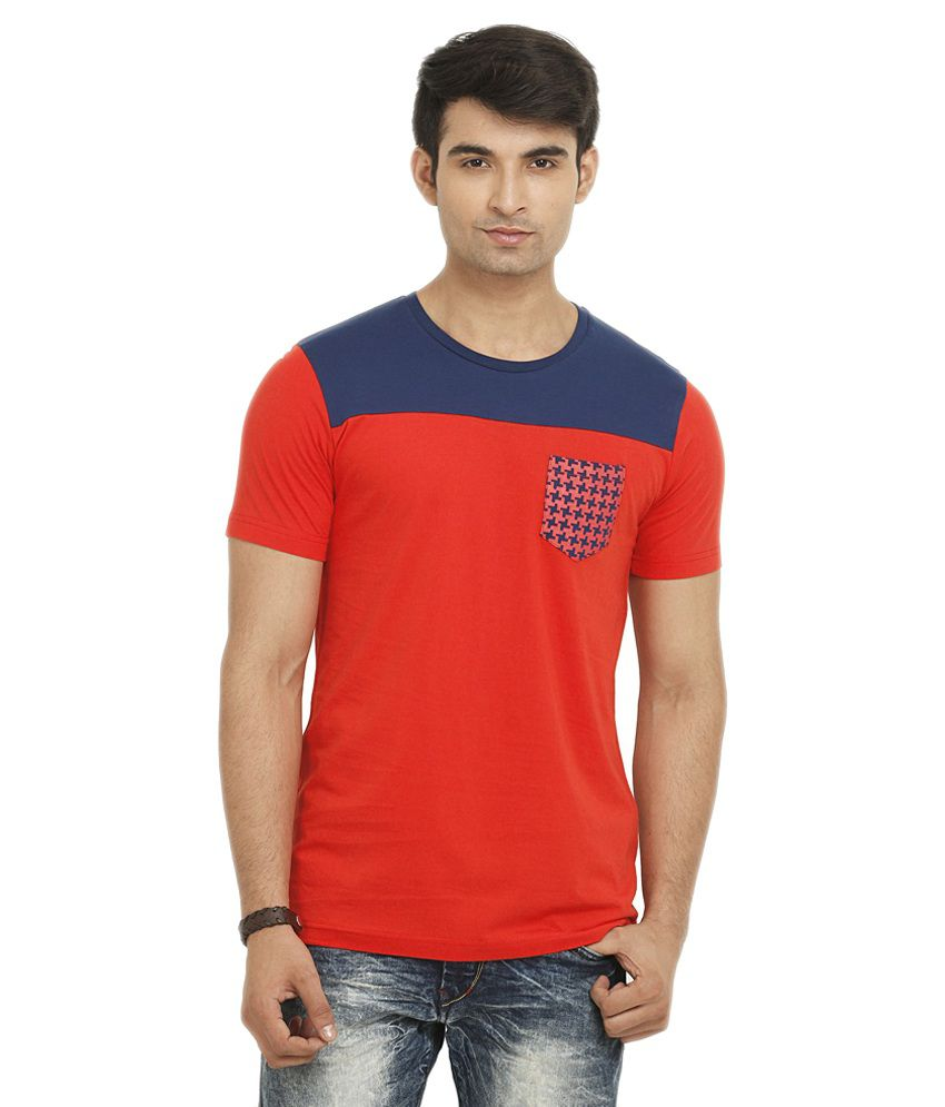 Ganzm Men Cotton Round Neck Red T-Shirt