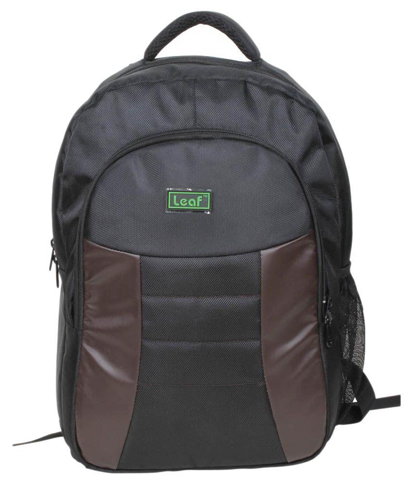 Leaf Black Classic Laptop Back Pack