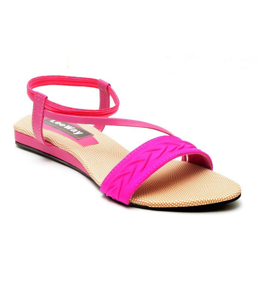 Leeway Footwear Pink Canvas Sandals