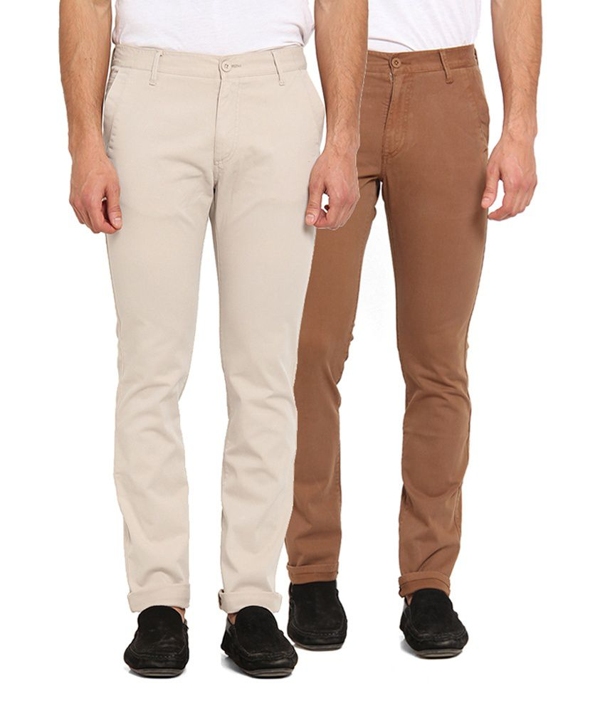 Offline Beige & Brown Cotton Lycra Slim Fit Chinos (Pack of 2)