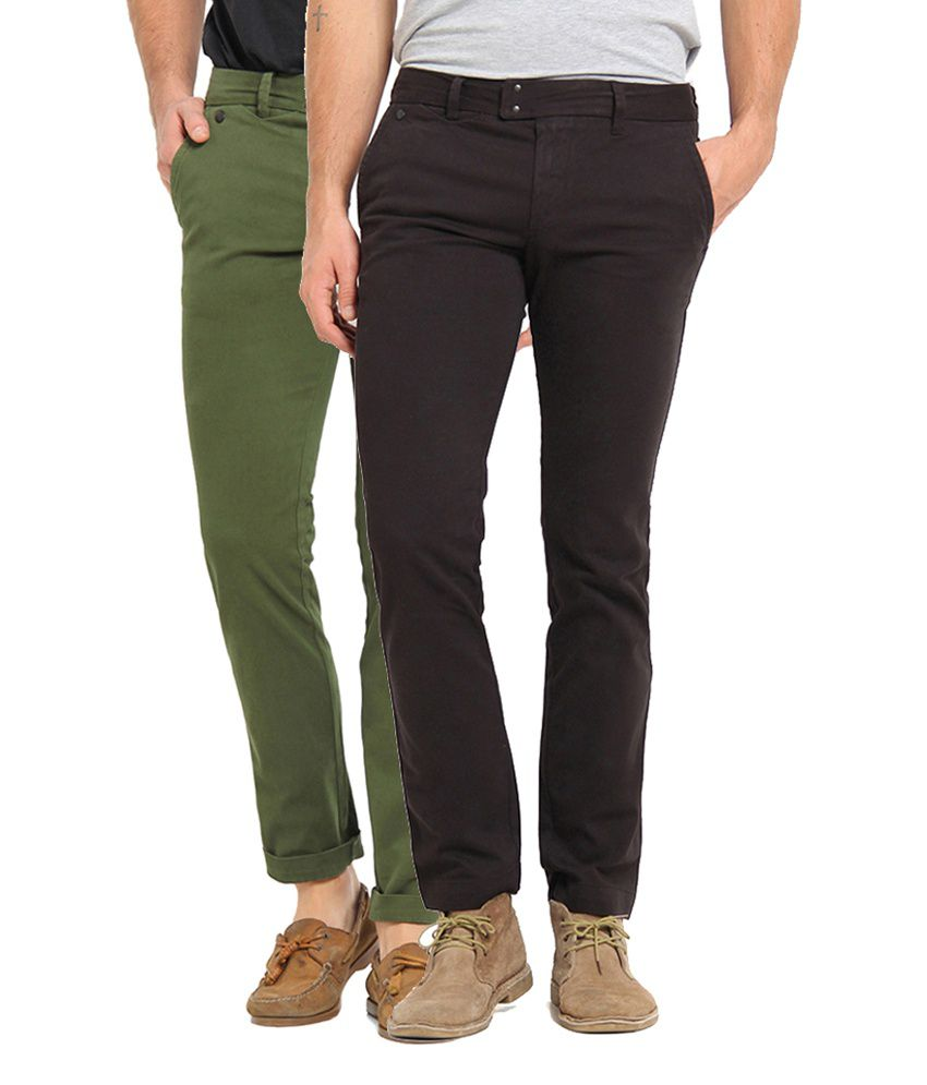 Offline Black & Green Cotton Lycra Slim Fit Casual Chinos (Pack of 2)