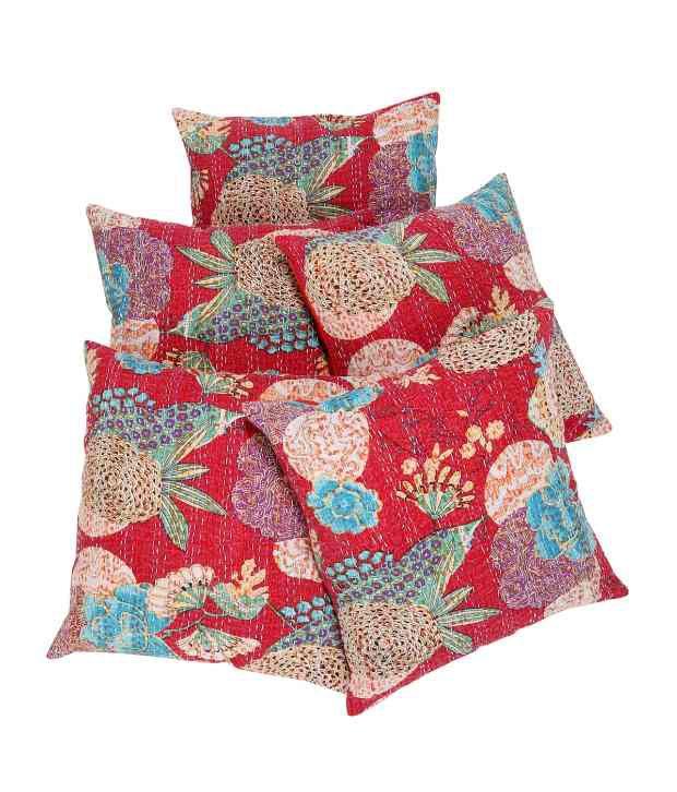 Rajrang Red Natural Cotton Cushion Covers
