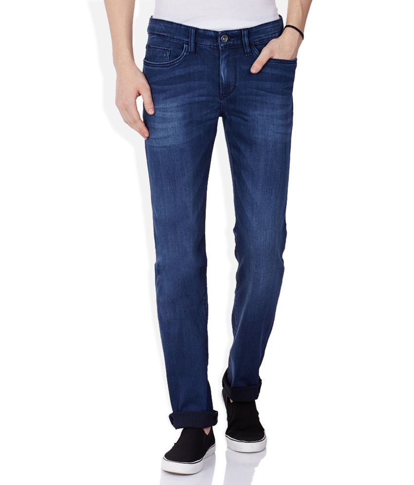 Celio Blue Dark Wash Slim Fit Jeans