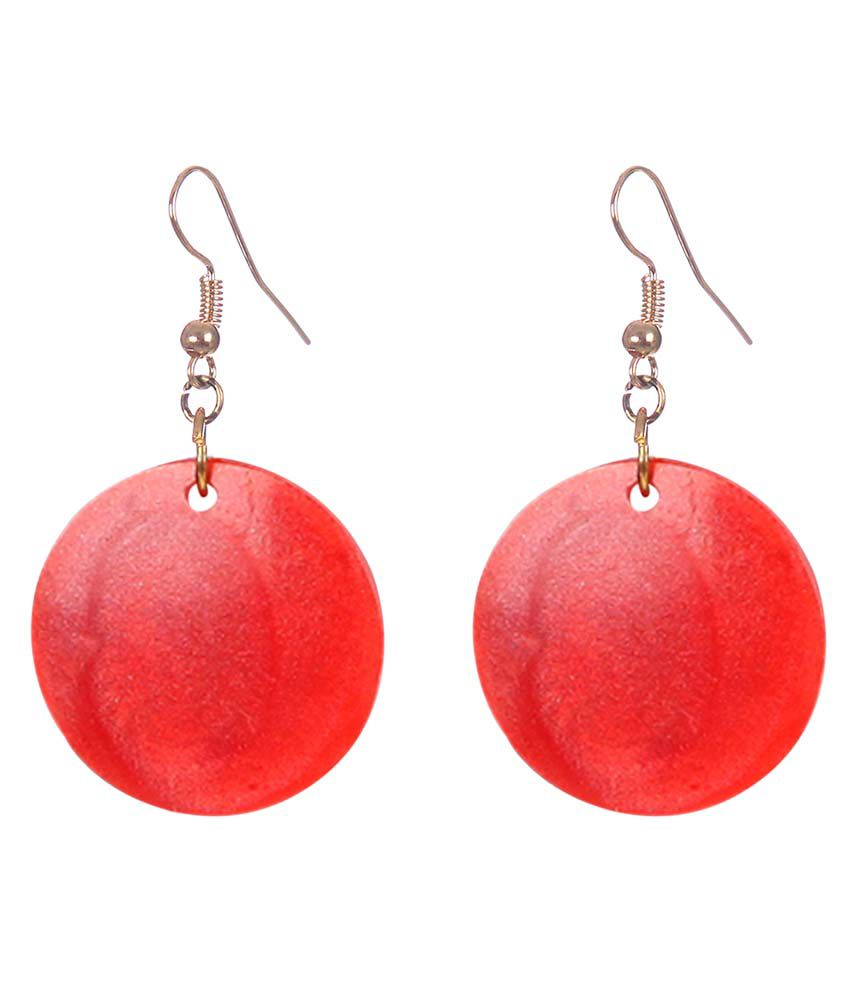 DCA Red Fish Hook Drop Earrings
