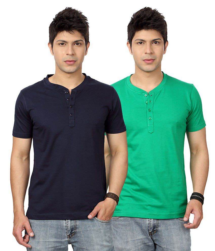 Entigue Navy Blue & Green Henley T-shirt Combo (Pack of 2)