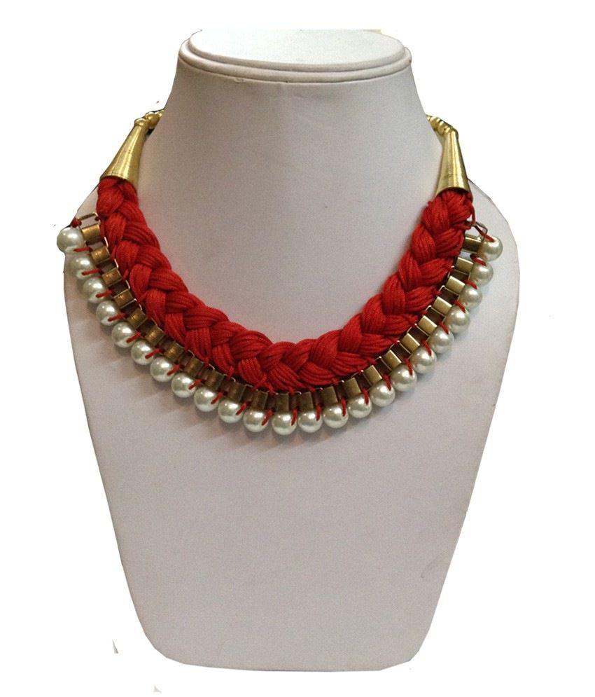 Shilpi handicrafts Red Fabrics Necklace