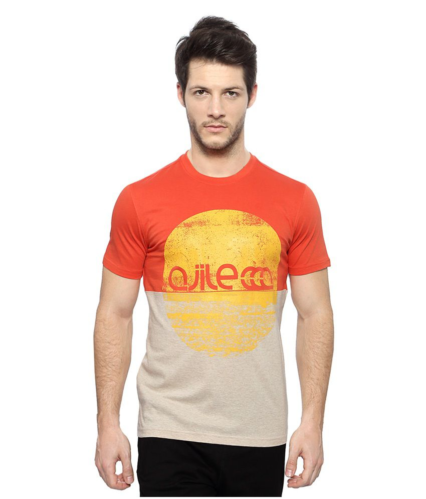 Pantaloons Orange Active Wear Printed T Shirt