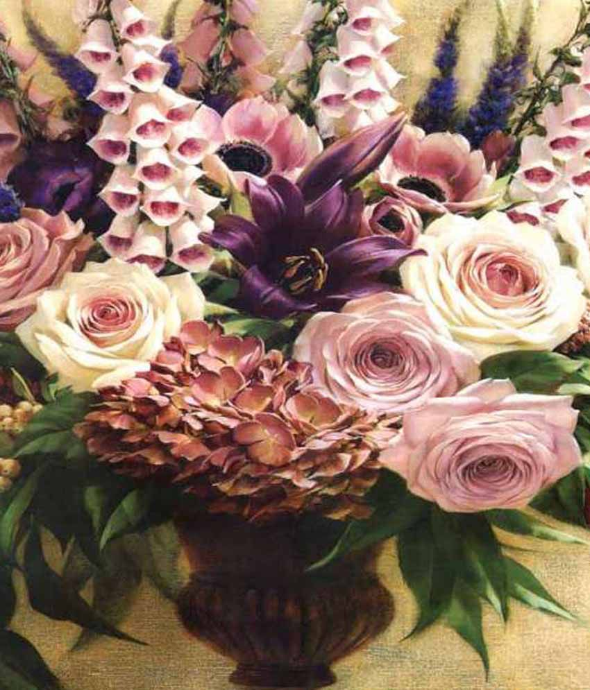 Tao Communications Floral Paintings Without Frame - Brown