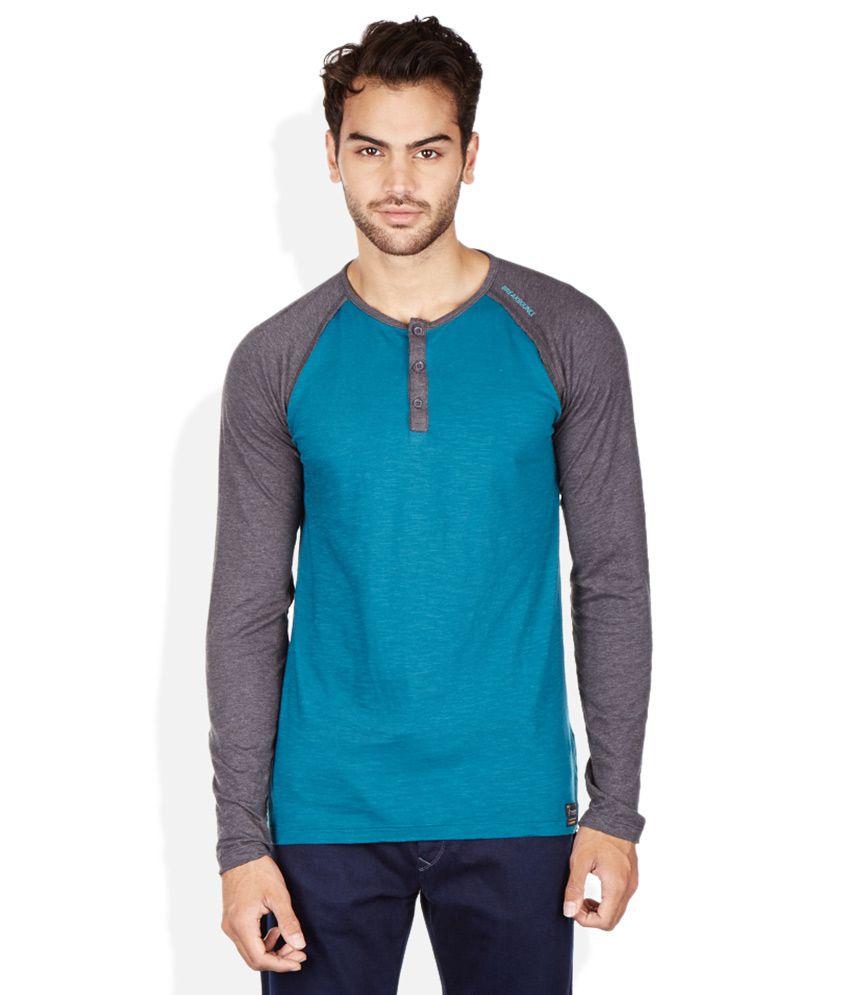 Breakbounce Blue Henley Neck T Shirt