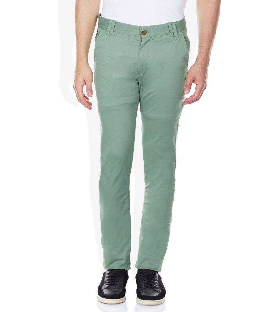 Breakbounce Green Slim Fit Trousers