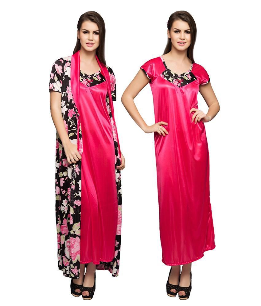 8dc0952b69 Buy Clovia Black Printed Nighty And Robe Set Online at Best Prices in India  - Snapdeal
