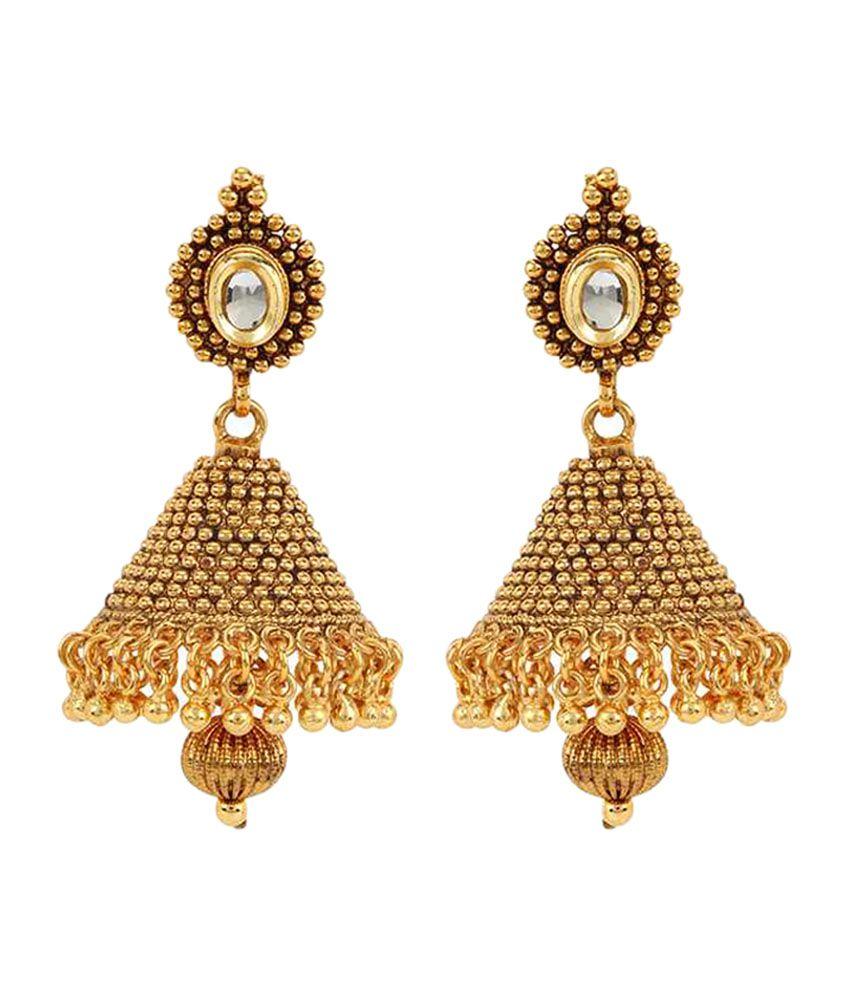 ShinningDiva 18Kt Gold Plated Kundan Jhumka Earrings - Buy ...