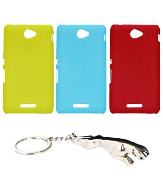 Winsome Deal Captivating Multicolour Combo of Keychain & 3 Sony Xperia E4 Back Covers