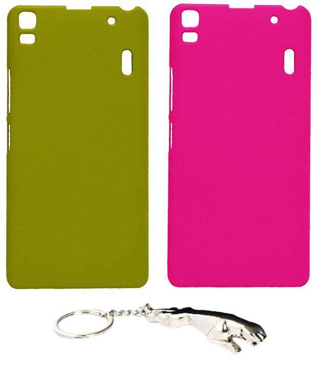 Winsome Deal Durable Multicolour Combo of Keychain & 2 Lenovo A7000 Back Covers