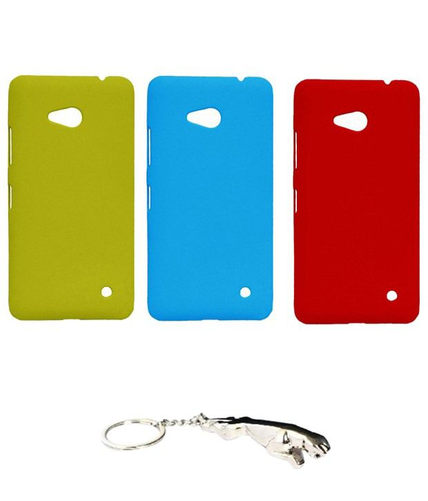 Winsome Deal Multicolour Combo of Keychain & 3 Nokia Lumia 640 Back Covers