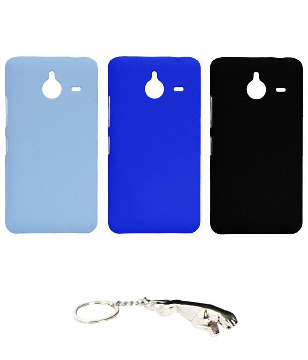 Winsome Deal Multicolour Combo of Keychain & 3 Nokia Lumia 640 XL Back Covers