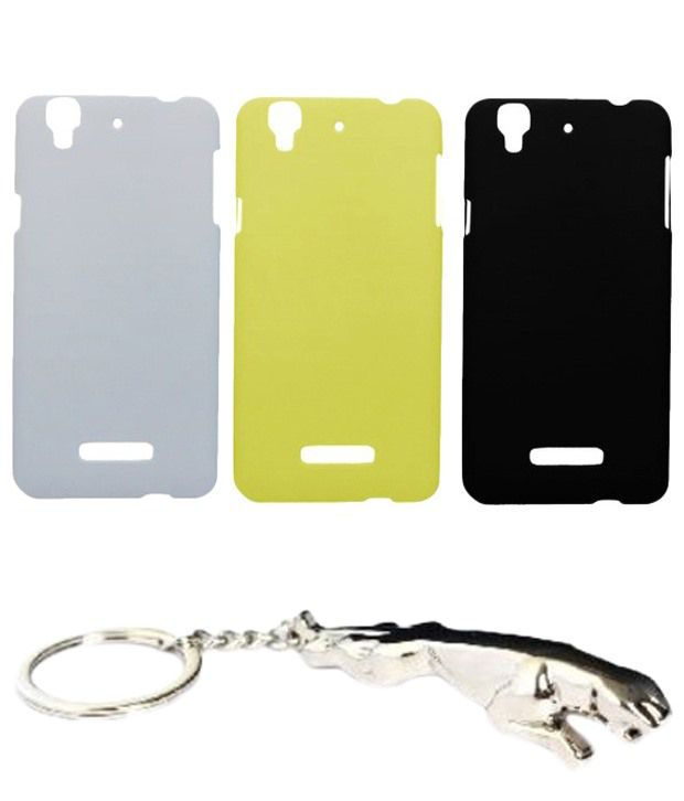 Winsome Deal Noteworthy Multicolour Combo of Keychain & 3 Micromax Yureka Back Covers