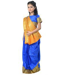 Pratima Blue Satin Party Wear Ready Made Saree