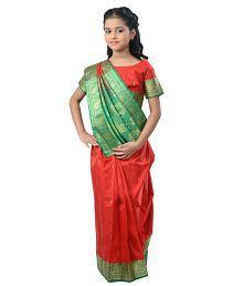 Pratima Red Satin Party Wear Ready Made Saree