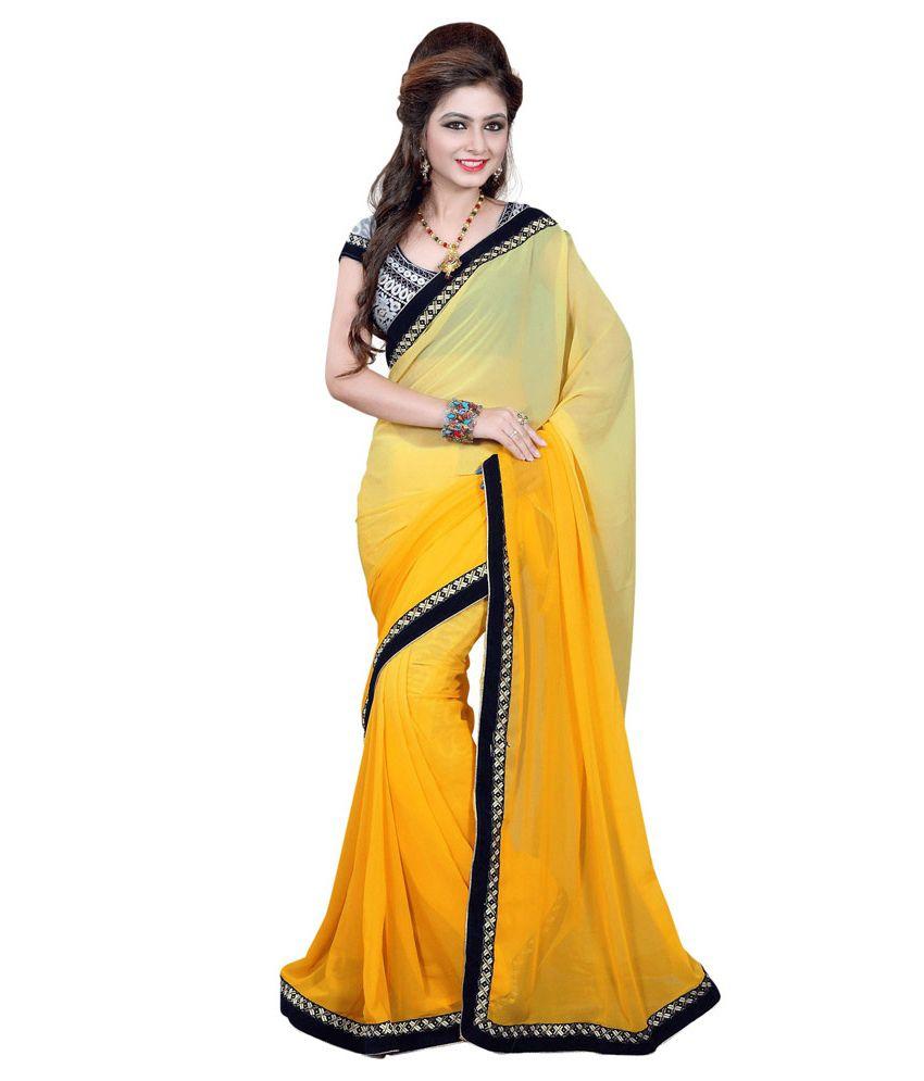 Bhanu Fashion Yellow Semi Chiffon Saree