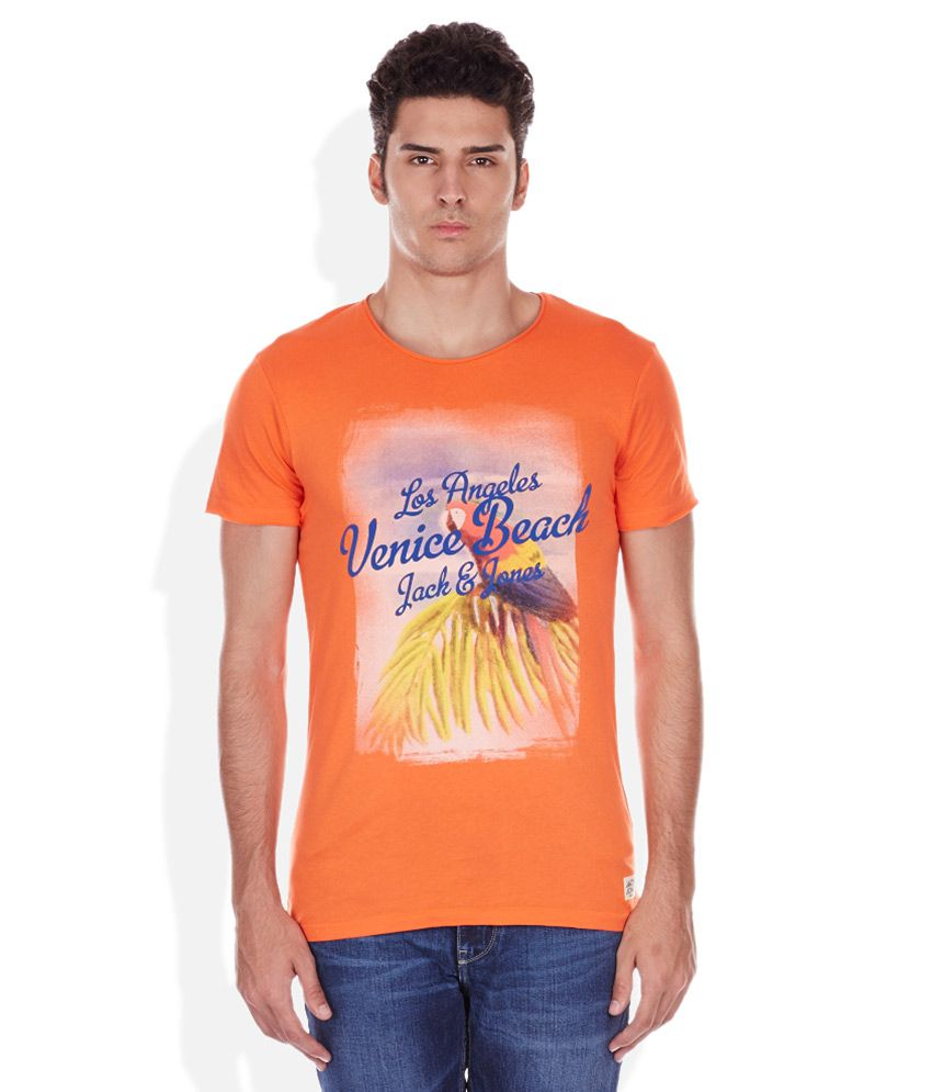 Jack & Jones Orange Round Neck Printed T-Shirt