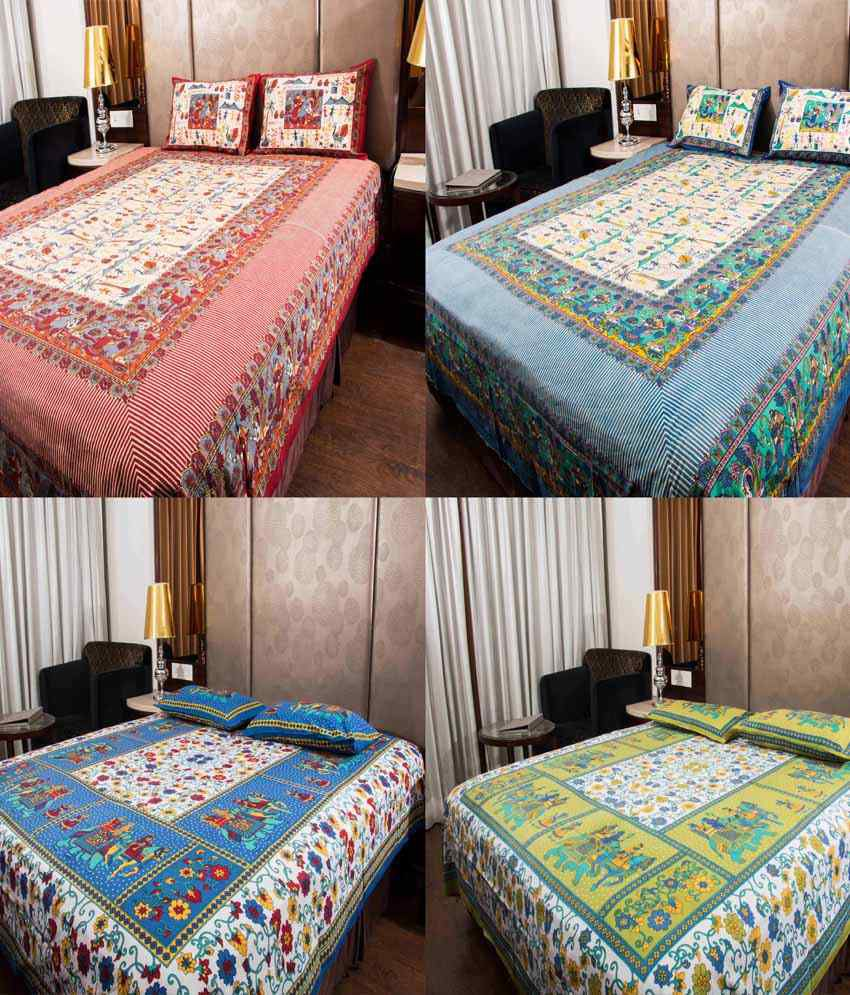 UniqChoice Multicolour Linen Cotton Printed 4 Double Bed Sheet With 8 Pillow Cover